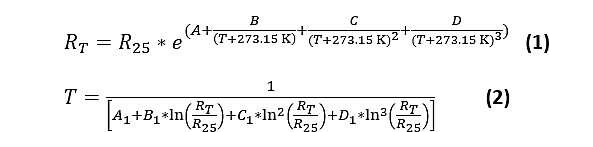 Temperature coefficient (NTC) thermistor Equation 2