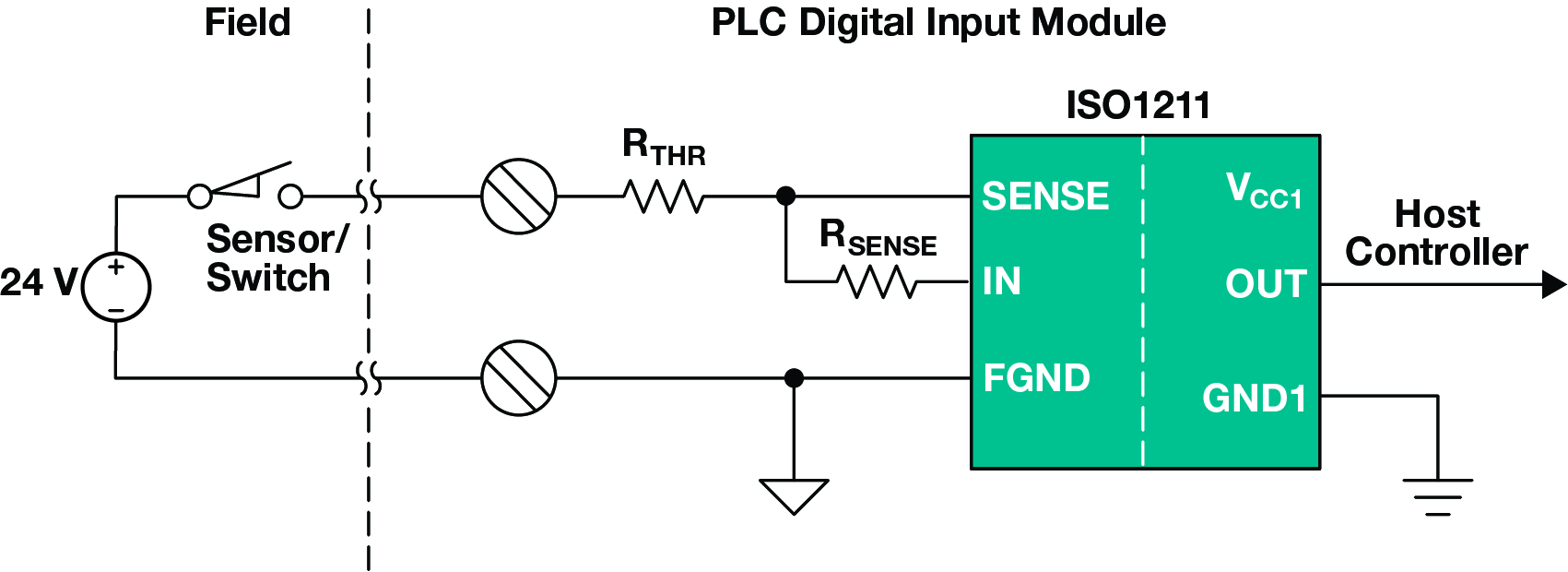 ISO1211 isolated digital input circuit