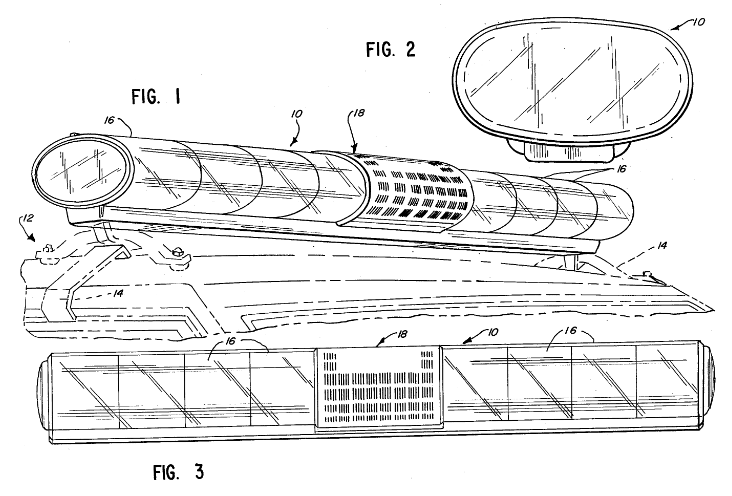 this patent diagram shows the design for a speaker grill in a police car lightbar