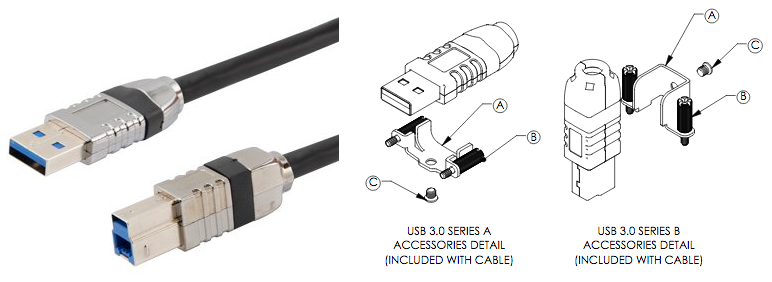 photo and diagram of ruggedized USB 3.0 cables