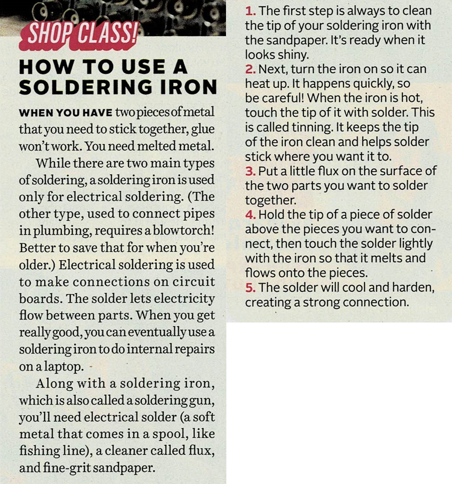"""magazine scan of Popular Mechanics article """"How to use a soldering iron"""""""
