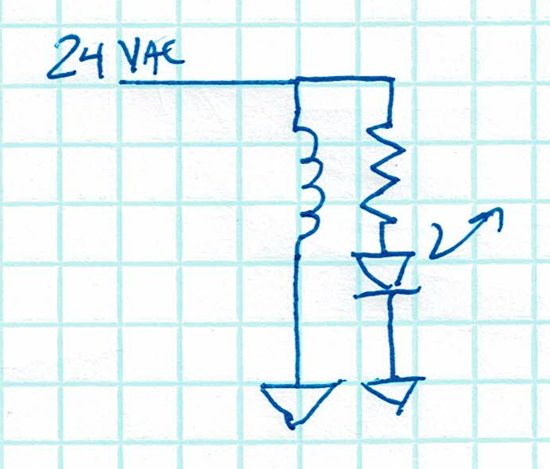 schematic of LED resistor across coil