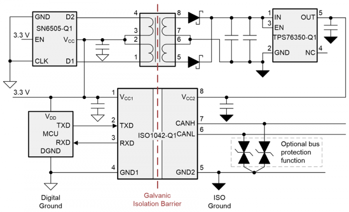 isolated power supply schematic wiht a transformer driver