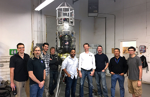 NASA COBALT team and the Masten Xodiac team with Xodiac in the background (Image courtesy of NASA)