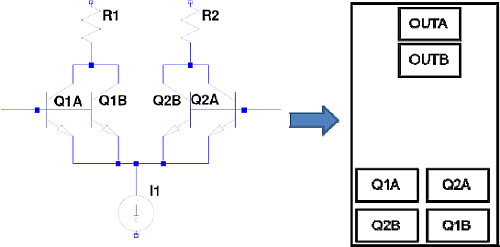 Output and Input transistors along the centerline