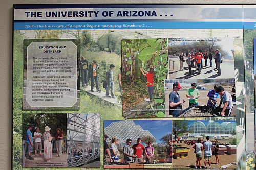 The University of Arizona uses Biosphere 2 as an adaptive tool for increasing general scientific literacy through outreach to industry, government, and the general public. Additionally, Biosphere 2 catalyzes interdisciplinary thinking and understanding about our Earth and its future and helps distill issues related to Earth systems planning and management for use by policymakers, students, and concerned citizens. (Image courtesy of Loretta Taranovich and Biosphere 2)