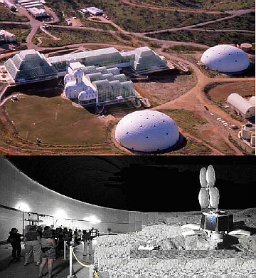 The University of Arizona (UA)-Biosphere 2 facility is shown at the top of Figure 1 with the West 'lung' dome shown towards the lower side of the top image; The DSH is shown in the bottom image inside the West 'lung' (Image courtesy of Reference 1)