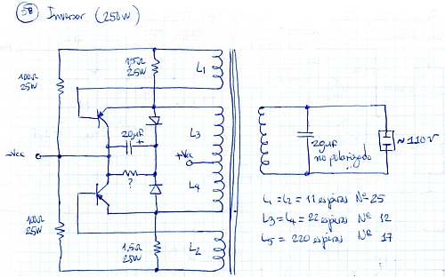 DC/AC inverter [incomplete] schematic using PNP Germanium transistors. Click here for larger image