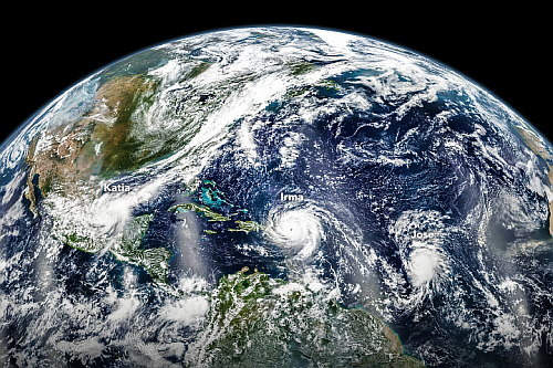 Here we see hurricanes Katia, Irma, and Jose swirling on September 6, 2017 in the Atlantic Ocean captured by Verner Suomi's Visible Infrared Imaging Radiometer Suite (VIIRS) on the Suomi National Polar-orbiting Partnership (NPP) satellite. (Image courtesy of NASA)
