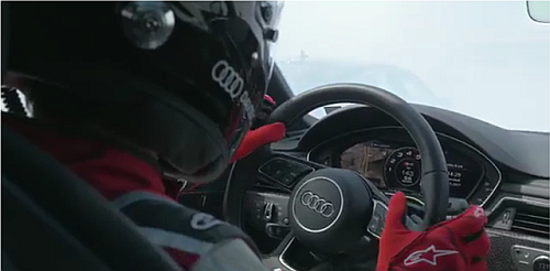 The Audi car is driven by a blind pilot in the 'Audi Trust Race' (Source: YouTube)
