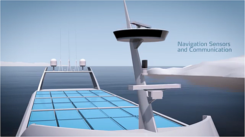 The autonomous container ship integrates sensors for communication and autonomous sailing.See this video. (Source: kataweb)