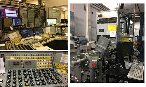 Control Room and Radiation Beam at the Cyclotron at Texas A&M University