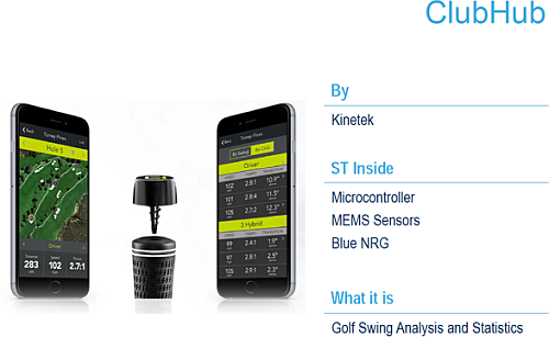 The ClubHub overview: a smart golf swing analyzer based on the MEMS microphones as sensing integrated elements. (Source: STMicroelectronics)