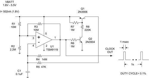 A very low-power analog comparator (TSM9119) provides a very low-power clock for applying duty-cycling control.