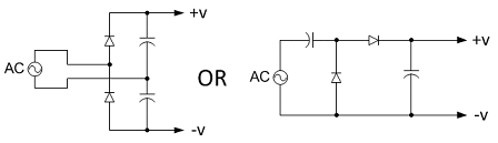 Two versions of voltage doubler circuits; the left circuit can use capacitors with lower voltage ratings. The inrush current limiting circuitry and the bleeder resistors are not shown.