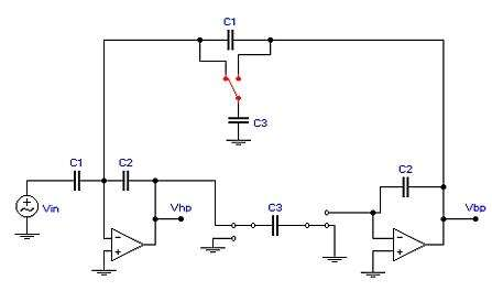 The biquadratic bandpass and highpass filter is created by a switched capacitor network. (Image courtesy of Technology Interface[1])