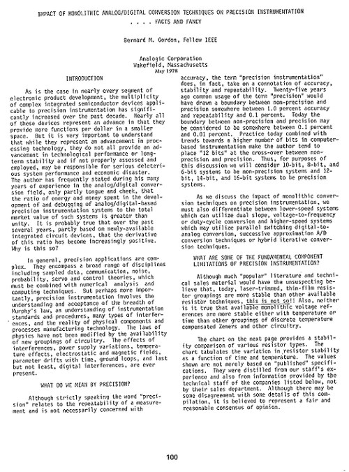 Bernie Gordon's paper describing his converter and a letter to George Rostky. Click here to see a larger version with all pages.  Reprinted with the kind permission of Analogic.