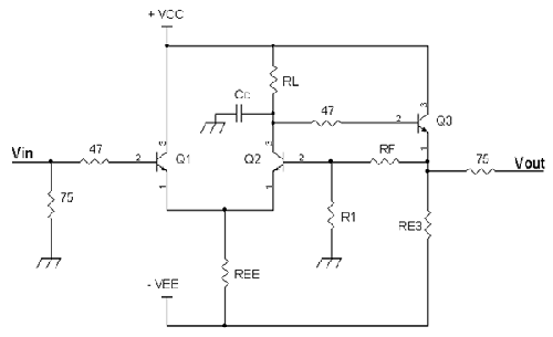 A video op-amp with 75Ω output resistor