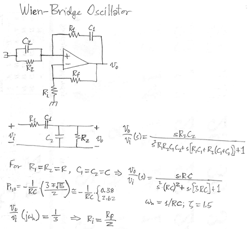 The Wien-bridge oscillator.