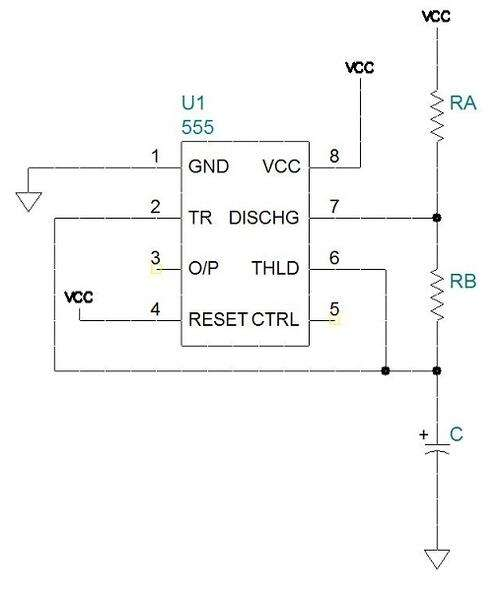 555 configured as an astable multivibrator with a frequency given by f = 1.44/((RA+2RB)•C).The mark-to-space ratio is given by RB/(RA+RB).