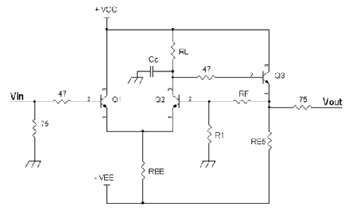 Simple video amplifier with one voltage gain stage.