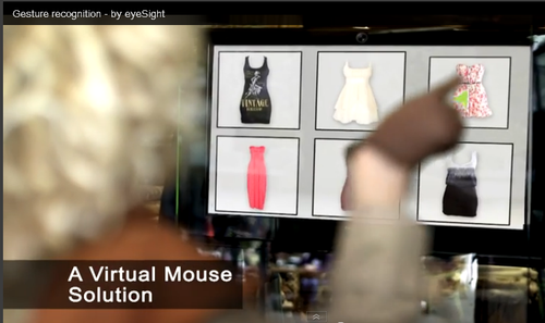 eyeSight's Touch Free technology virtual mouse solution. The object shown on the screen inside the shop can be selected from outside by a gesture.