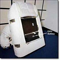 Figure 2: The Extravehicle Mobility Unit (EMU) in the EVA spacesuit, is powered by the EMU battery (In Figure 1) which is a removable, rechargeable lithium ion battery that enables communication, circulation of oxygen and removal of carbon dioxide through a fan. (Source: NASA)