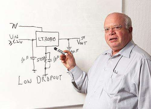 In 2007 Bob Dobkin developed the LT3080, a linear regulator that could be adjusted all the way down to 0V at the output. It could also be paralleled without any extra external components to produce more output current and spread the heat out better. It needed only a single resistor to set the output voltage and only two small ceramic capacitors.