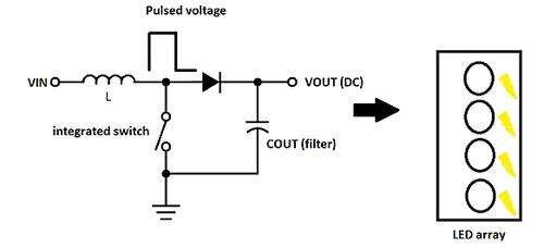 The basic operating mode of the step up configuration of an integrated voltage DC-DC to supply a constant power to a LED array.