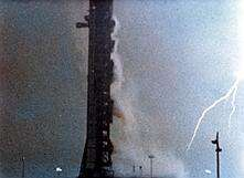Lightning struck both the Saturn V rocket and the launch tower shortly after Apollo 12 lifted off.