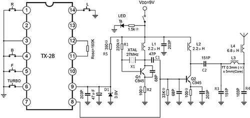 Schematic for transmitter circuit