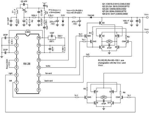 Schematic for receiver circuit with H-bridge motor drivers
