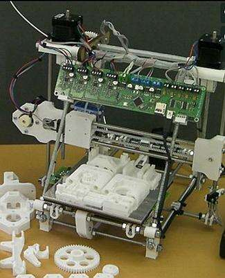 The 3D Printer, its electronic part is based on the open source Arduino platform and it is able to produce the parts of the first prototype of the printer series. (source: RepRap project website)