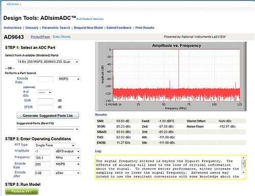 ADISimADC Main Web Page - AD9643-250 Selected