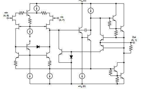 Complete schematic of the freezer alarm; the OPA2541 actually has two of these circuits