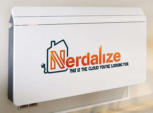 A Nerdalize 'heater' mounted on the wall of a home.  Inside the box is a cloud compute node connected to the internet.  Adapted from Nerdalize.