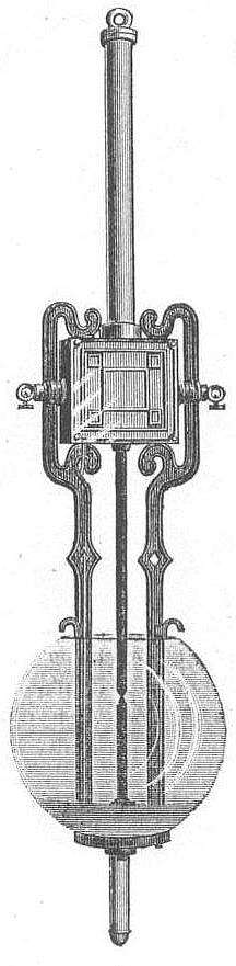 A View of the Tesla Arc Lamp. (Image courtesy of the Tesla Collection)   The article states: The main objects desired to be secured by the inventor, were first of all, simple and reliable apparatus; preventing the vibrations of the movable carbon in consequence of the fluctuations of the current; then to obtain a perfect feed and a steady light. The lamp cuts itself out and in without the aid of any auxiliary apparatus. The action of the magnets of the lamp is so delicate that the feeding is imperceptible. The design of the lamp frame is neat, and the lamp is substantial and reliable. This system is now in daily use on the streets of Rahway, N.J., where all visitors are privileged to see it at work. The company is now constructing a number of large machines, and is ready to go before the general public with an arc light system that will, no doubt, meet with great favor.