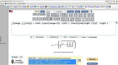 The Online Equation Editor [3] Shows the Equation as well as the HTML Code in Two Separate Boxes.  The Hi Lited Text in Blue is What You Will Copy to Your Web Page