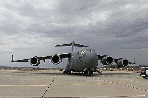The US Air Force mighty C-17 aircraft containing Orion in its bay