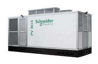 The PV Box is a containerized plug and play power conversion system adapted to customer requirements and local standards. (Image courtesy of Schneider Electric)
