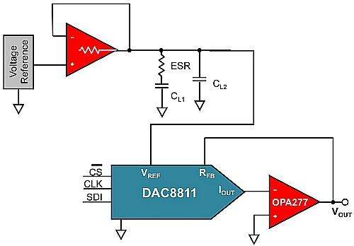 Complete MDAC circuit using the 16-bit MDAC and the 1 MHz operational amplifier.
