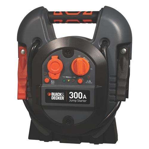 This 300 Instant/600 Peak Amp Jump Starter from Black+Decker is quite handy, and much safer and easier to use than long inter-car jumper cables.