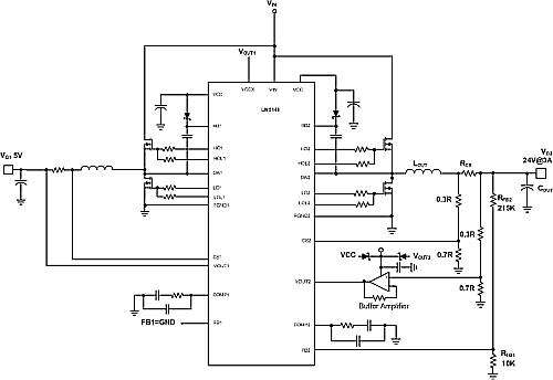 Schematic, LM5140-Q1 with extended output range external components