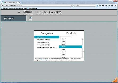 Product Category Selection Page in Virtual Eval