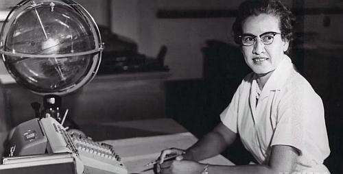 The 'Celestial Training Device' shown here in front of Katherine Johnson, was a globe-within-a-globe, which was basically a celestial training device that showed the key coordinates for navigation in Earth orbit in space. (Image courtesy of NASA)
