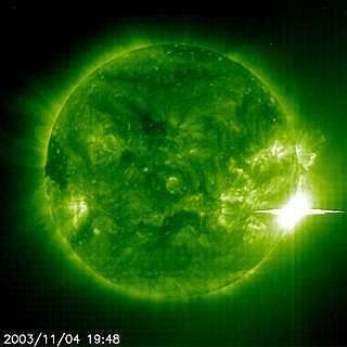 The Sun unleashed a powerful flare on November 4, 2003 as the Extreme ultraviolet Imager in the 195A emission line onboard the SOHO spacecraft captured the event as seen above. (Image courtesy of ESA and NASA/SOHO)