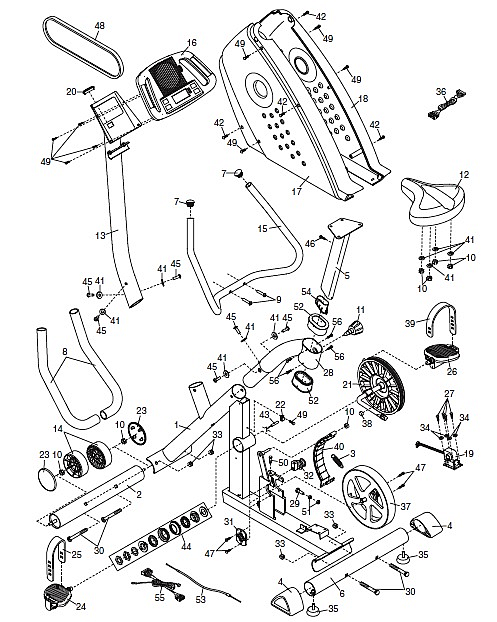 This exploded assembly drawing of the Pro-Form GR 75 exercise machine shows the hidden world of nuts, bolts, washers, and specialized parts within this mostly mechanical product. (Image source: ICON Health & Fitness, Inc.)