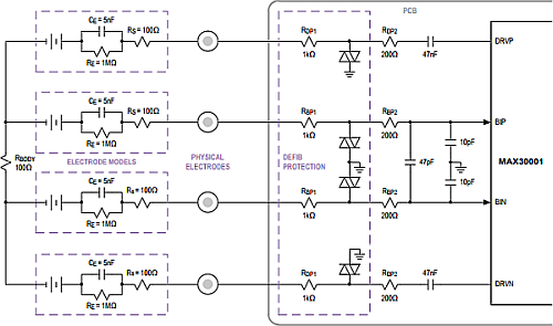 Four-Electrode ECG and Respiration Monitor Typical Application Circuit