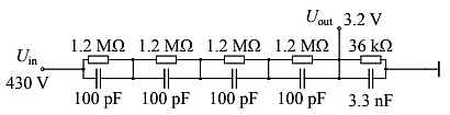 A high-voltage divider compensated with a Signal-to-Noise Ratio (SNR) of 130 dB and a thermal power dissipation of only 10 mW per resistor which allows good linearity performance. (maximum) (Image courtesy of Reference 1)