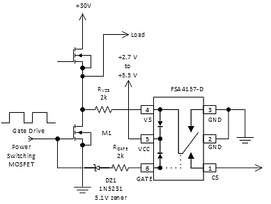 An FSA4157-D analog switch used to implement low side RDS(on) sensing. Note that built in diodes clamp both the signal as well as the control voltage. During the interval that the MOSFET M1 is on, the signal passes from pin 4 to pin 1 of the FSA4157-D analog switch. When the MOSFET switches off, pin 1 of the analog switch is disconnected but the pin 4 input is grounded to minimize coupling of the switching pulse.